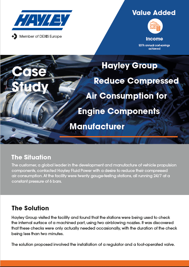 Case Study Reduced Compressed Air Consumption For Engine Components Manufacturer