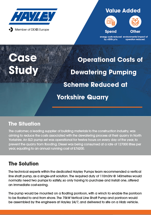 Operational Cost Savings For Quarry Dewatering Case Study