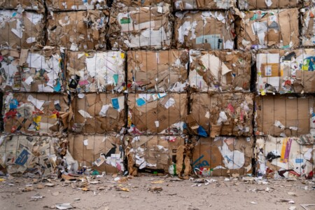 Waste bundles at recycling plant