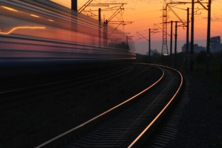 train station at dusk