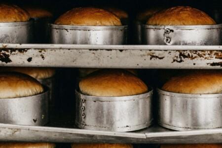 Bread baking in industrial oven