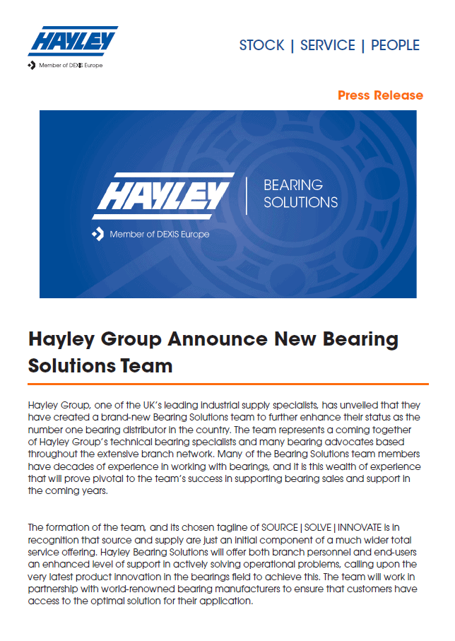 PR013 Press Release from Hayley Group
