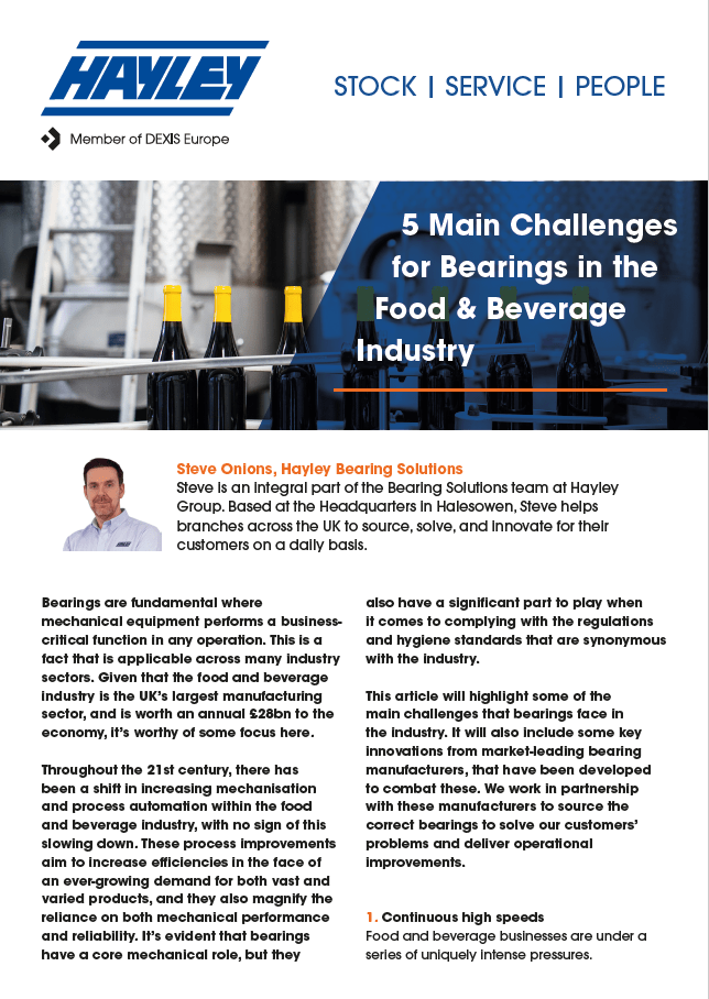 bearings food industry discussion