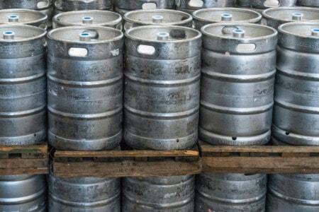 Beer barrels at brewery
