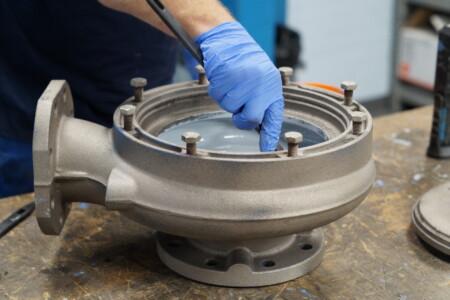 Belzona coating being applied to pump asset