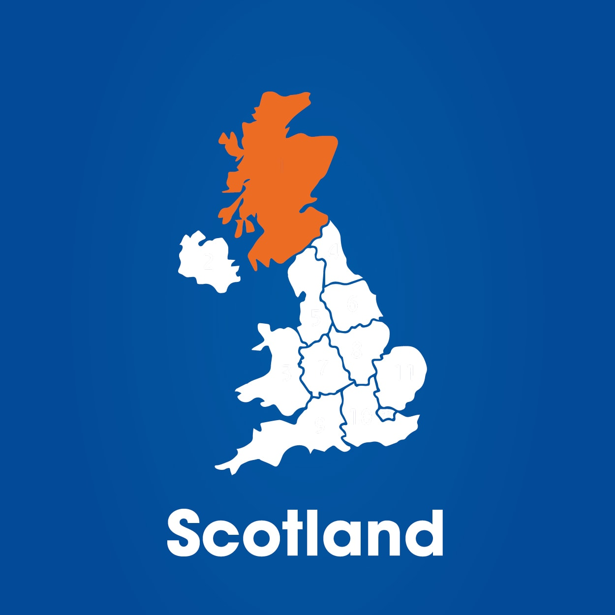scotland highlighted on map of uk
