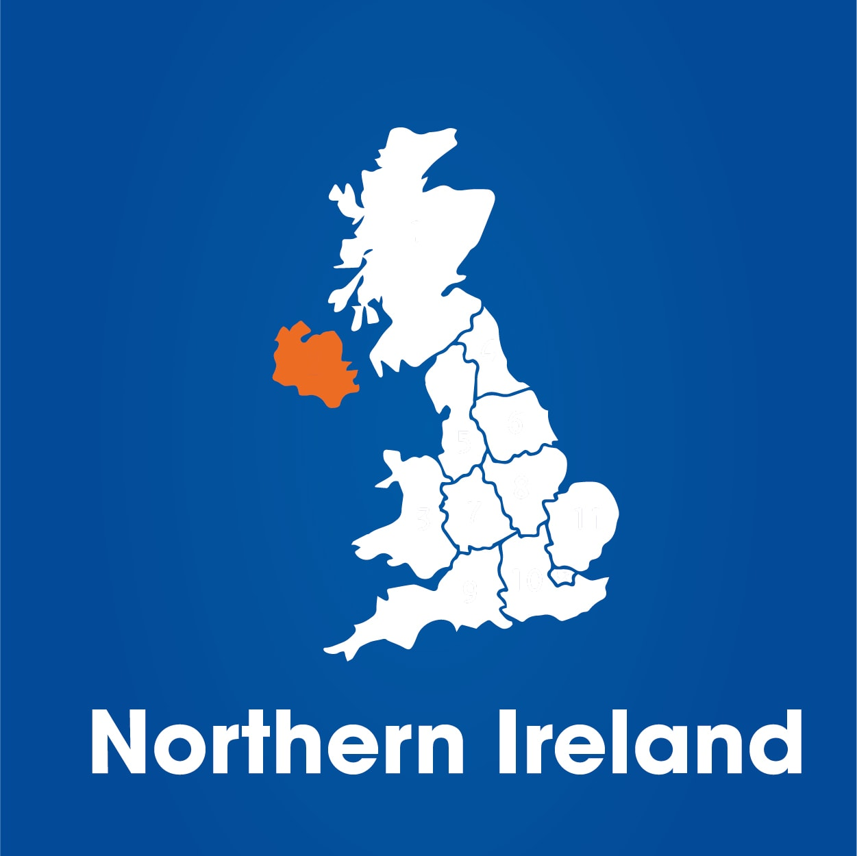 Northern Ireland highlighted on map of UK