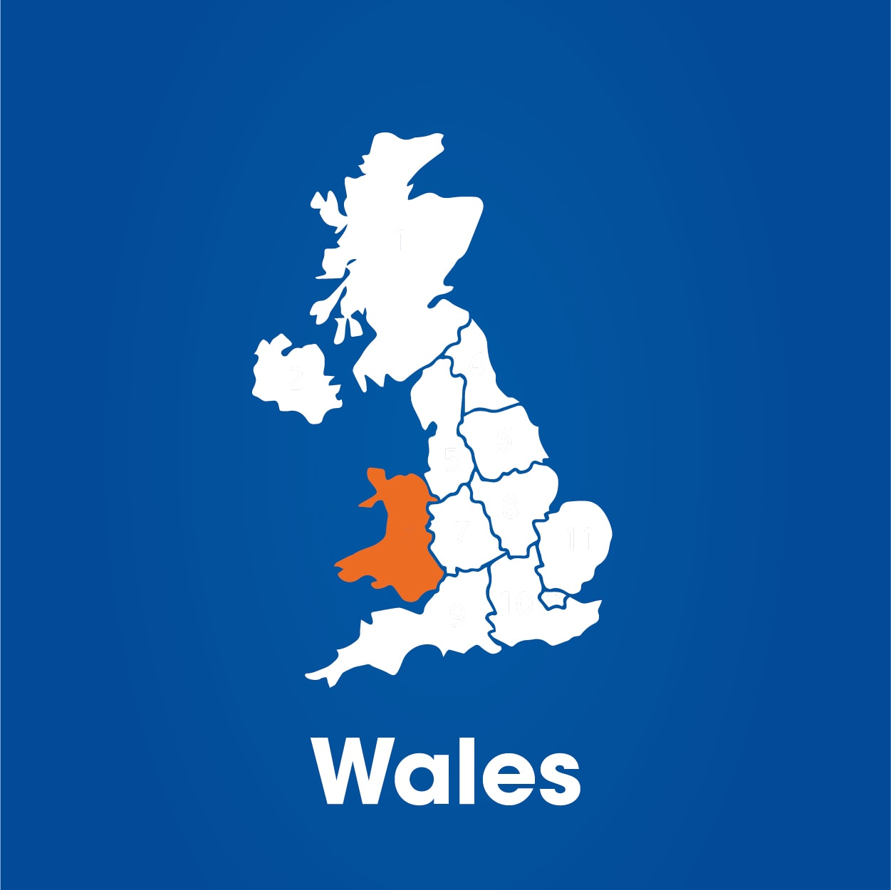 wales highlighted on map of UK