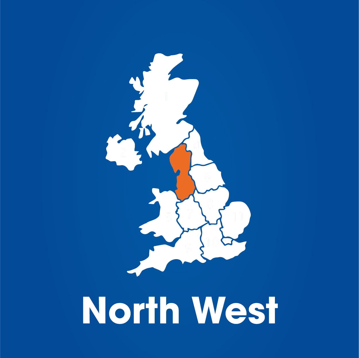 north west region highlighted on map of UK