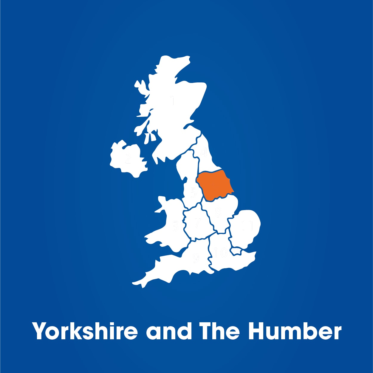 yorkshire and the humber on UK map