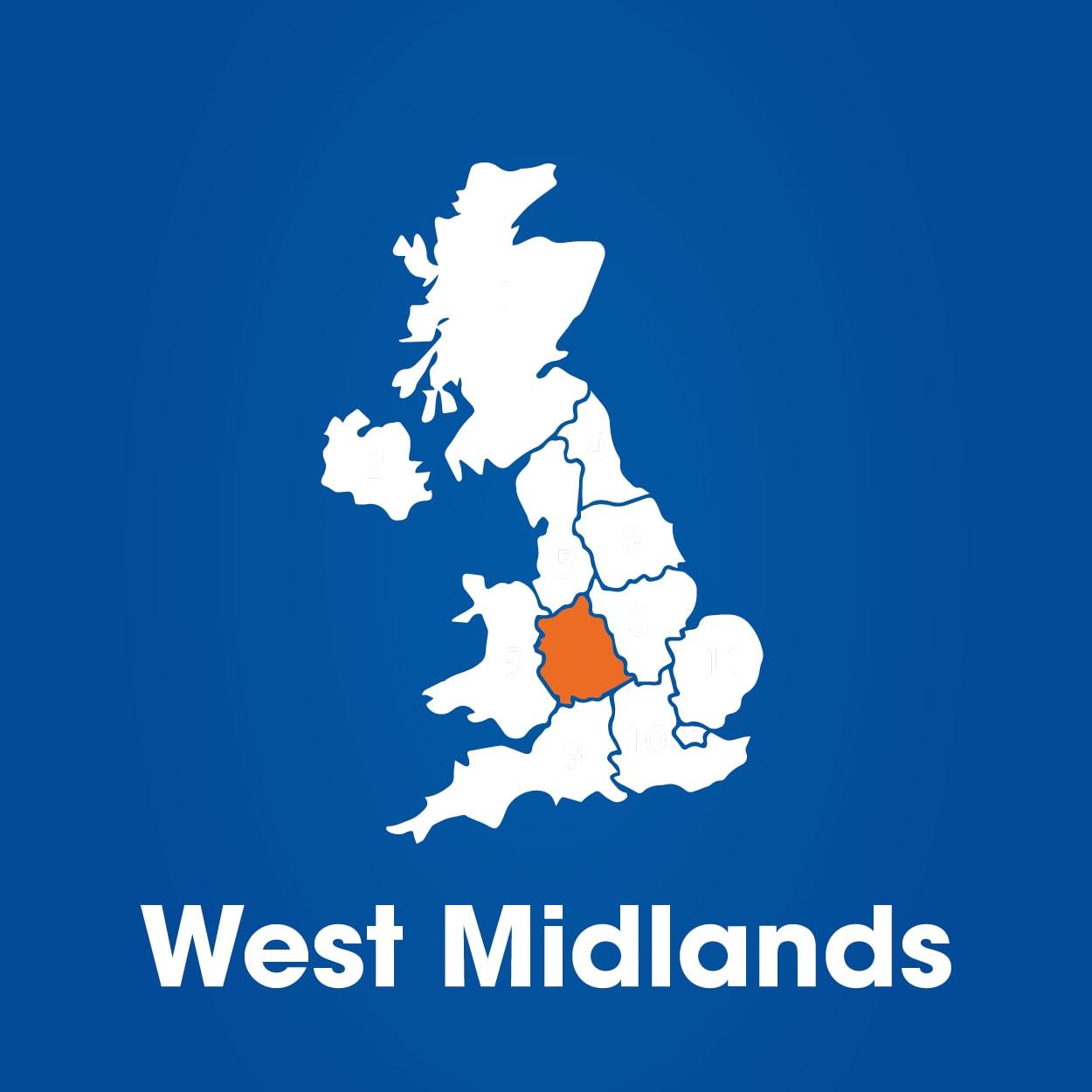 west midlands on UK map