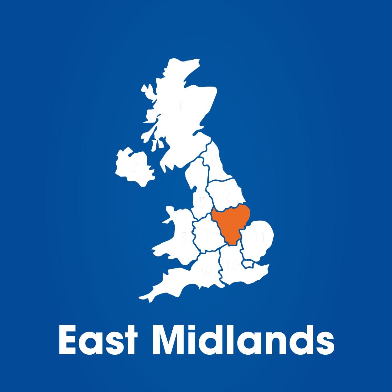 East Midlands region highlighted on map of UK