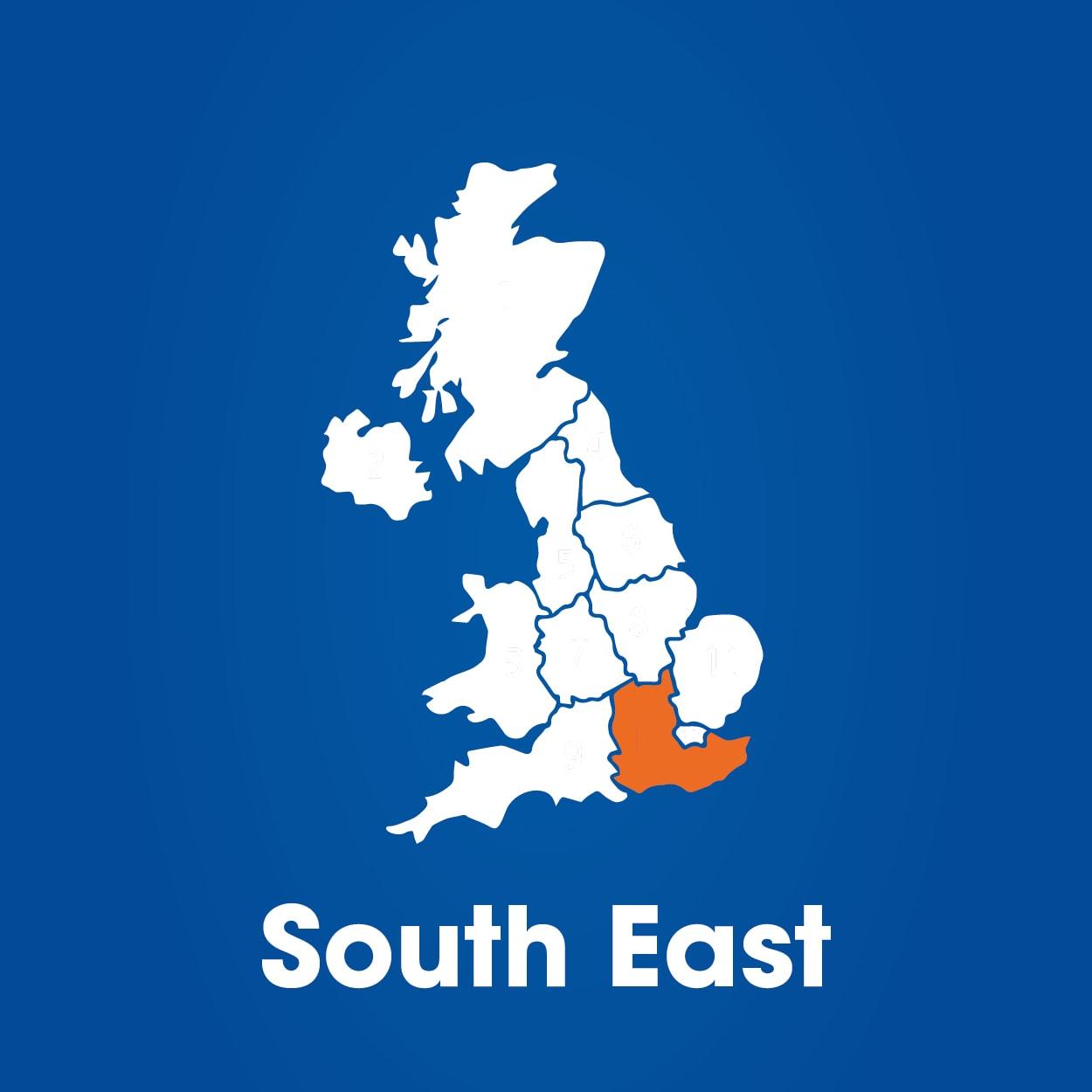 South East region on UK map