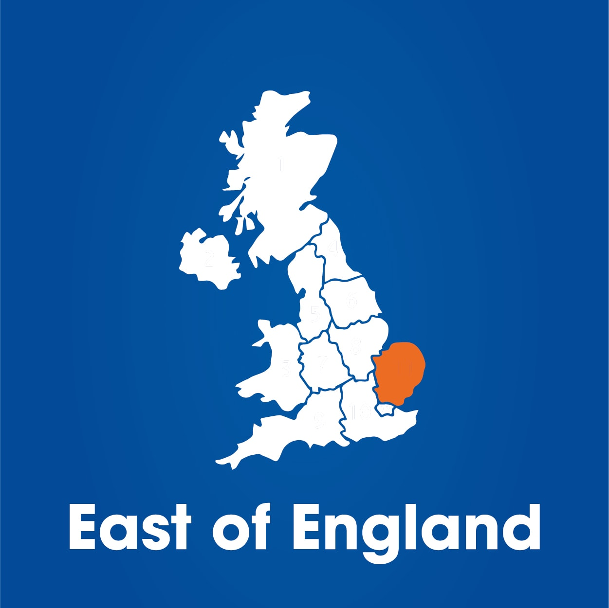 East of England region highlighted on map of UK