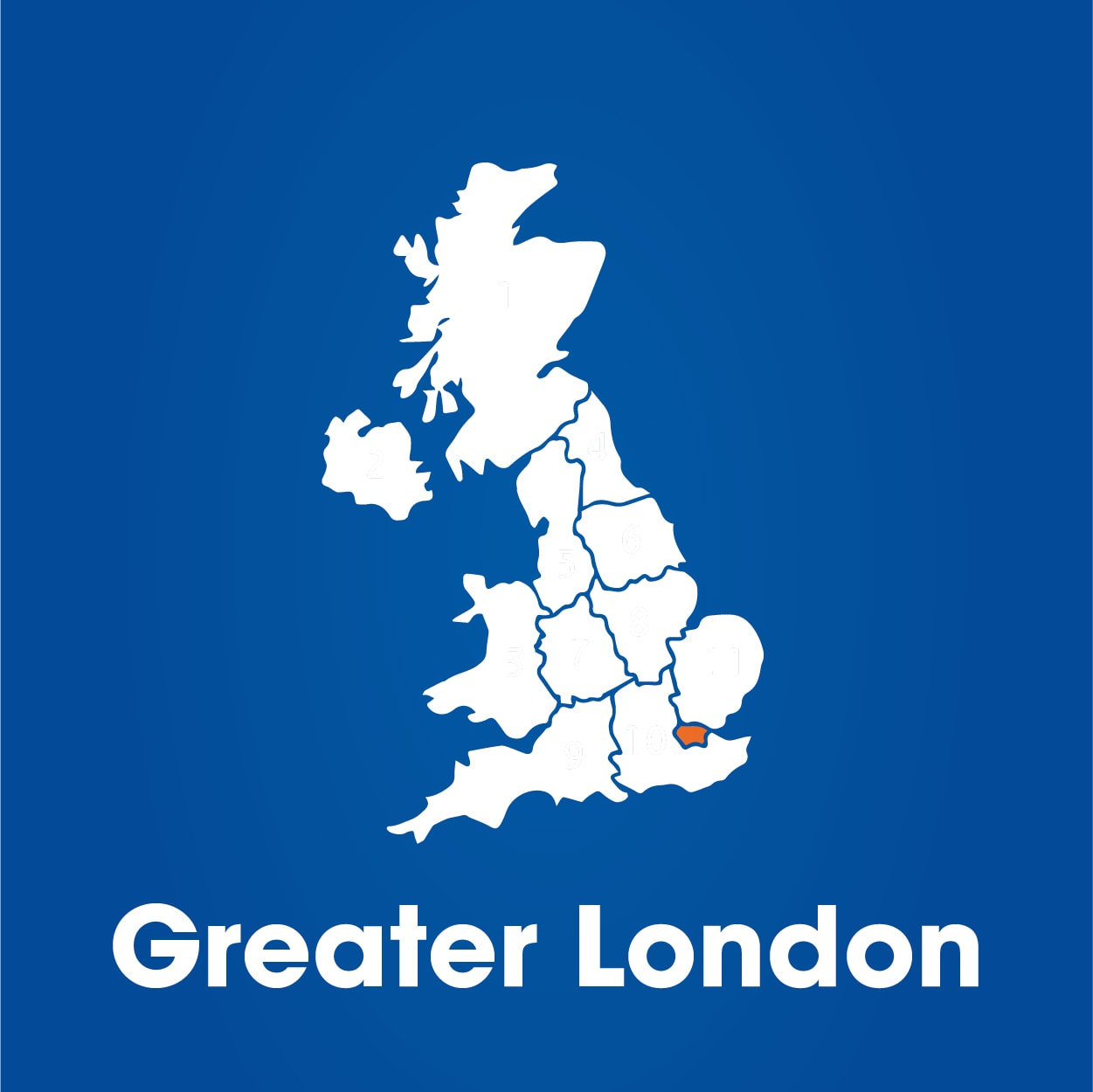 Greater London region highlighted on map