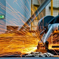 metal cutting with sparks flying