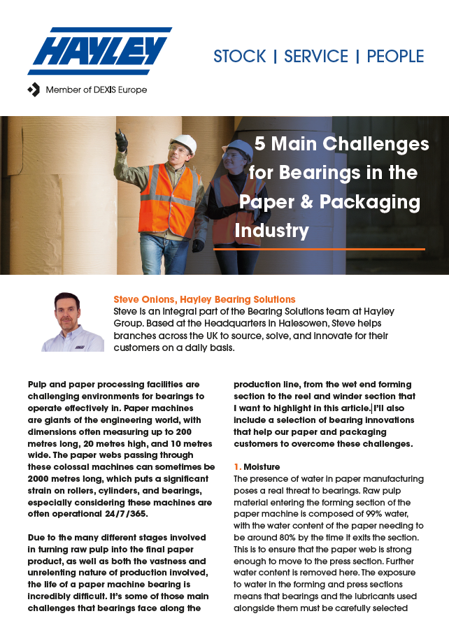 Main Challenges For Bearings In The Paper & Packaging Industry Discussion Article