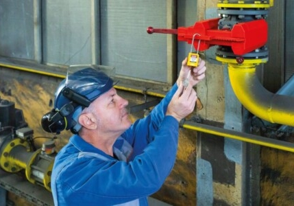 Lockout Tagout device being used by engineer